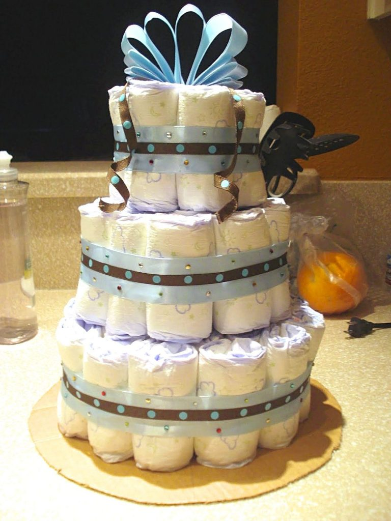 Unique baby shower gift ideas - homemade 3 tier diaper cake