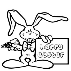 Happy Easter bunny free printable coloring pages