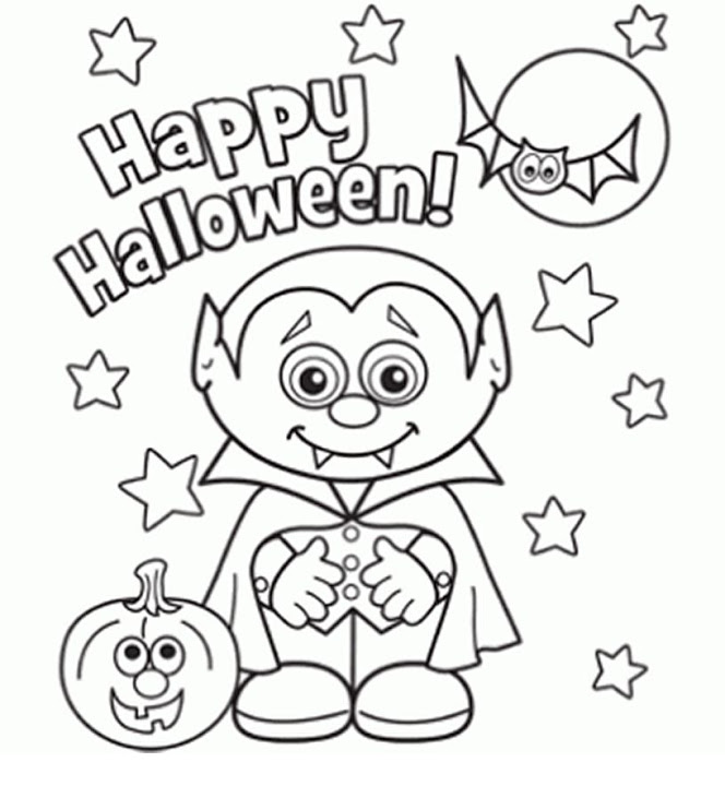 Free Halloween printables Halloween Little Vampire Coloring Page - Happy Halloween coloring pages