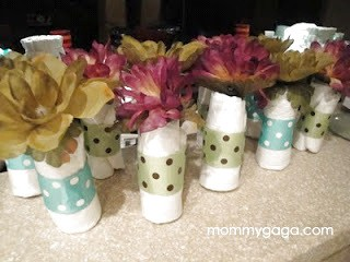 Homemade Baby Shower Centerpiece Ideas | Mini Baby Diaper Rolls
