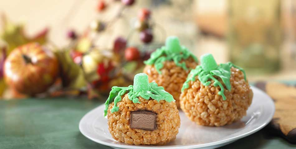 surprise pumpkin rice krispies treats