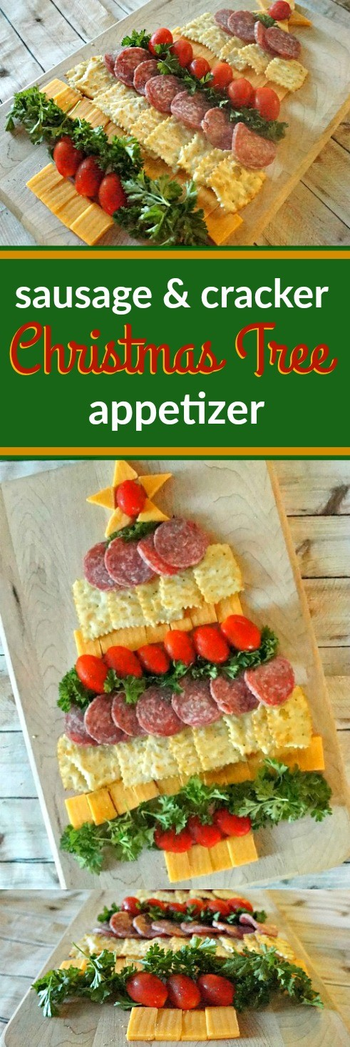 Easy holiday party food - Sausage, cracker, and cheese Christmas tree appetizer -- We are so excited for the holidays, and this cheese, crackers, and sausage Christmas tree appetizer looks amazing!
