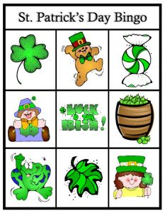 St Patricks Day bingo free printable