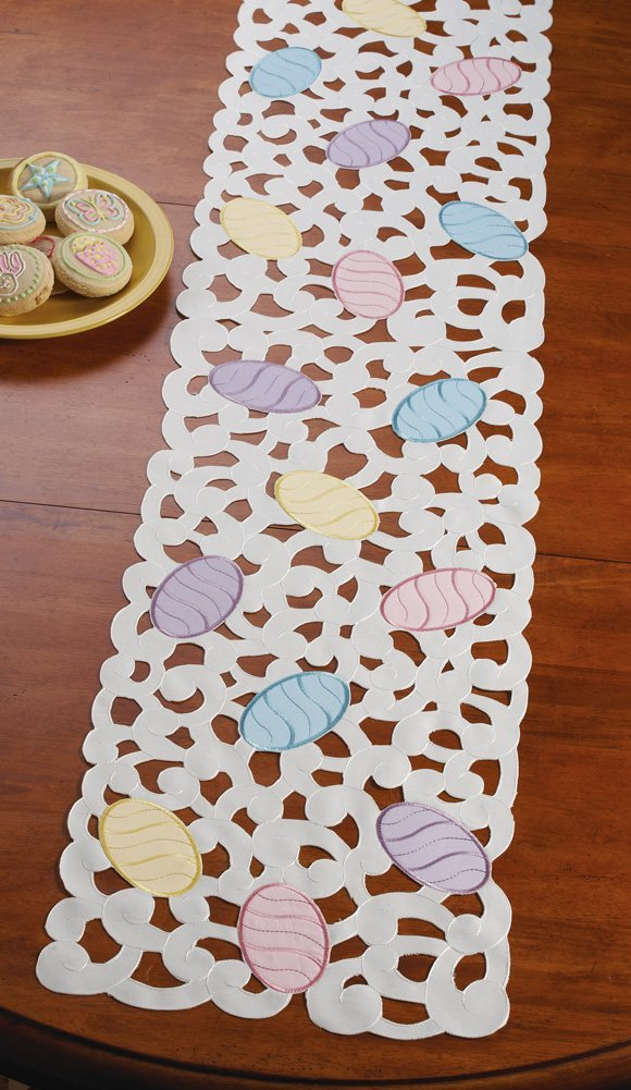 Colorful spring Easter eggs table runner home decoration