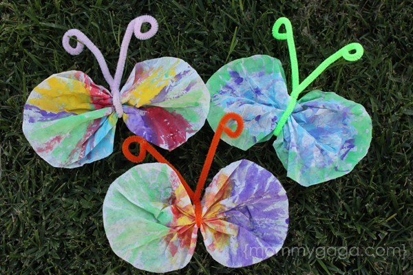 Painted coffee filter butterfly spring kids craft