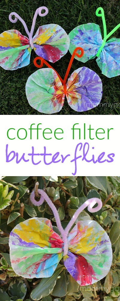 Spring crafts for kids coffee filter butterfly craft idea for Butterfly art and craft