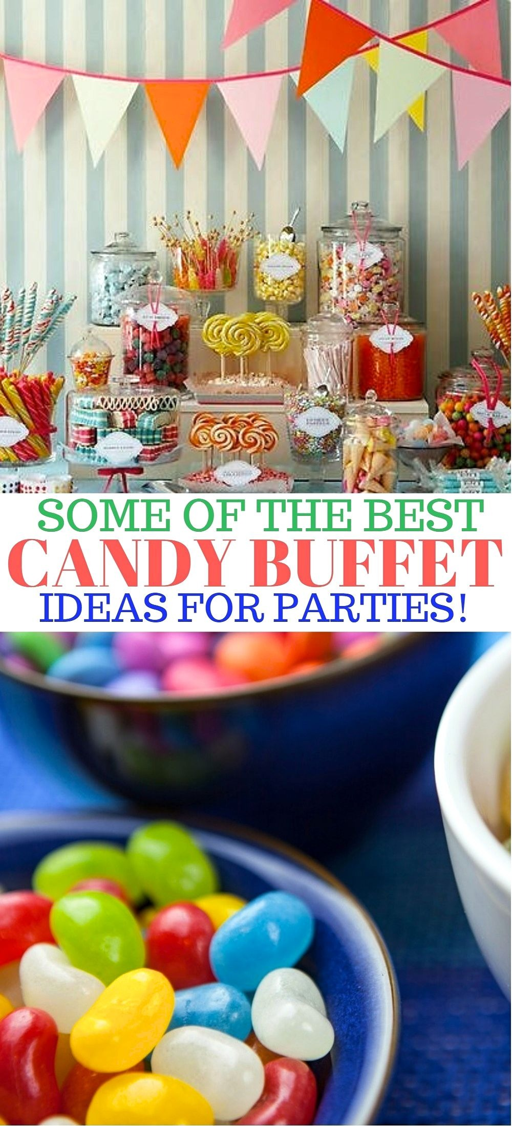 9 of The Best Awesome Candy Buffet Ideas for Your Party - One of the cutest and sweetest party ideas is really catching on, candy buffets! Here are a few of the best awesome candy buffet ideas from some of the pros for your next candy buffet