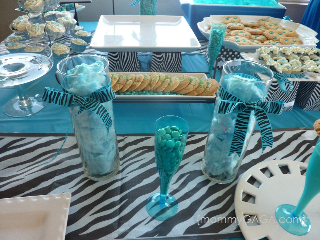 Zebra blue unique baby shower theme for boys honey for Animal print baby shower decoration ideas
