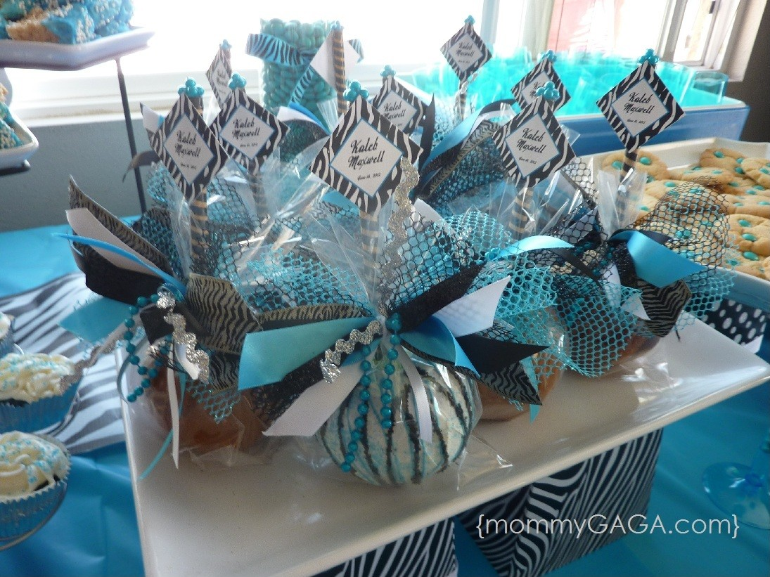 Boy Blue Zebra Baby Shower Custom Caramel Apples