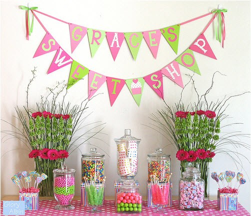 Glorious Treats Pink and Green Candy Buffet