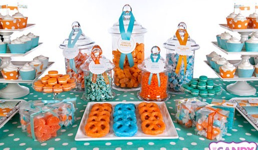 Buy candy buffet supplies - Orange and Blue Candy Buffet