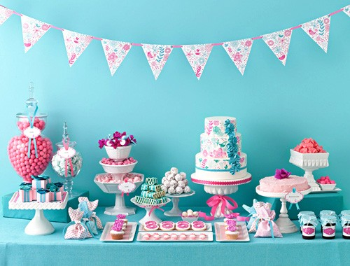 Create a candy buffet - Pink and Blue party Candy Buffet