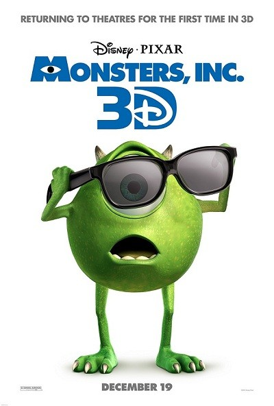 Disney Pixar Monsters Inc 3D Poster