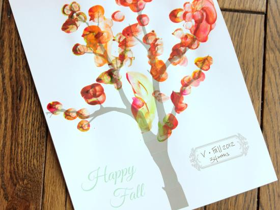 Fall fingerprint tree craft, kiwi crate