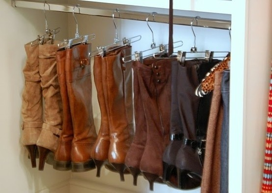 Hang boots with pants hangers