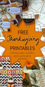 15 free Thanksgiving printables - choose from Thanksgiving coloring pages, printable activities, games, Thanksgiving party decor and more