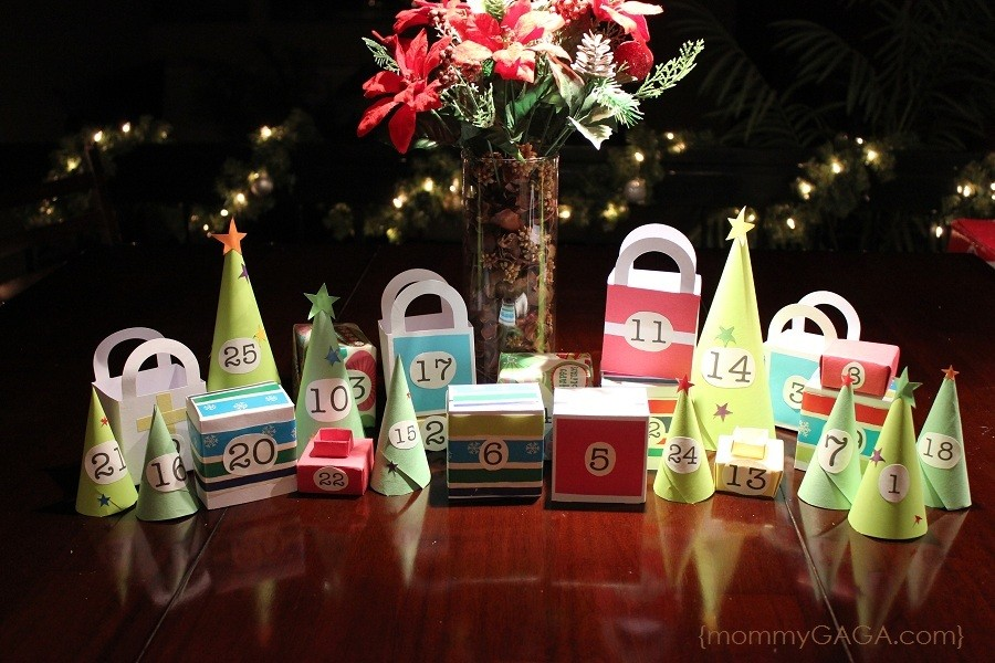 DIY Christmas advent calendar village