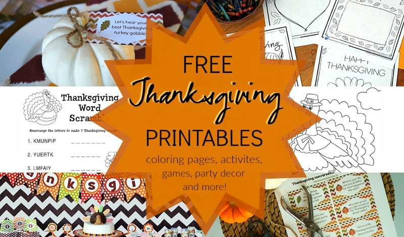 Thanksgiving Decoration Games : Thanksgiving printable coloring pages party favors