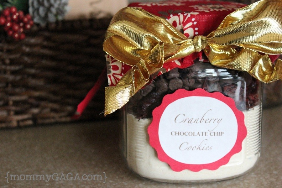 Homemade Christmas cookies in a jar, cranberry chocolate chip cookies