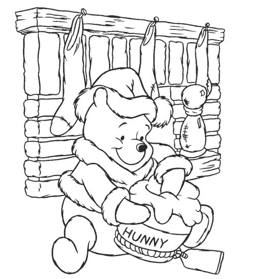 disney christmas coloring pages winnie the pooh by the fireplace