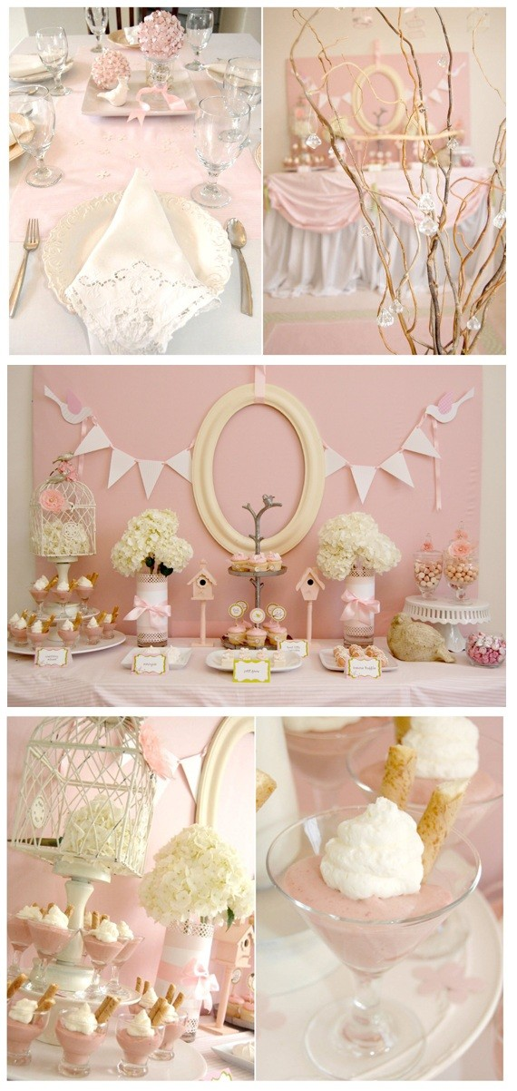 Elegant Pink and White Baby Shower Girls Theme
