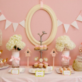 Unique girls baby shower ideas, light pink whimsical theme