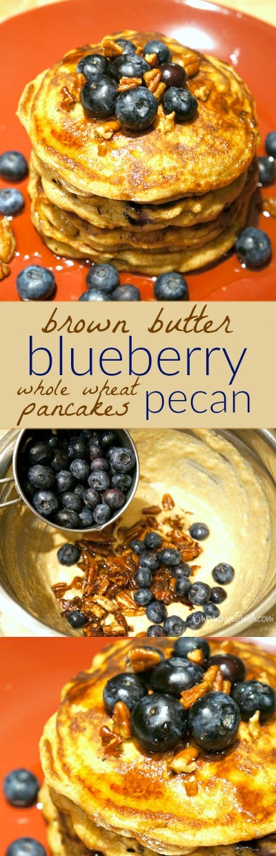 ... brown butter blueberry pecan whole wheat pancakes are made with just