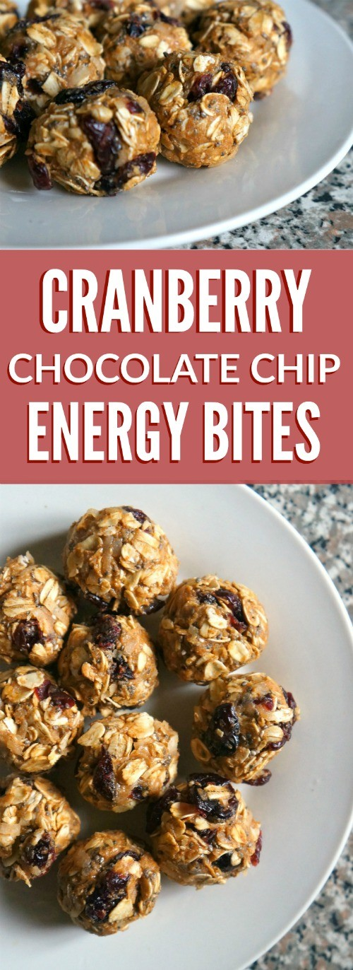 This protein packed cranberry chocolate chip oat energy bites recipe is super easy to make, and so delicious!