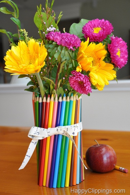 DIY Colored Pencil Vase Gift