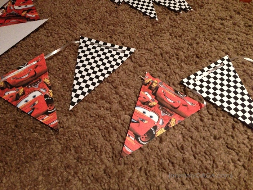 DIY pennant party banner ready to hang