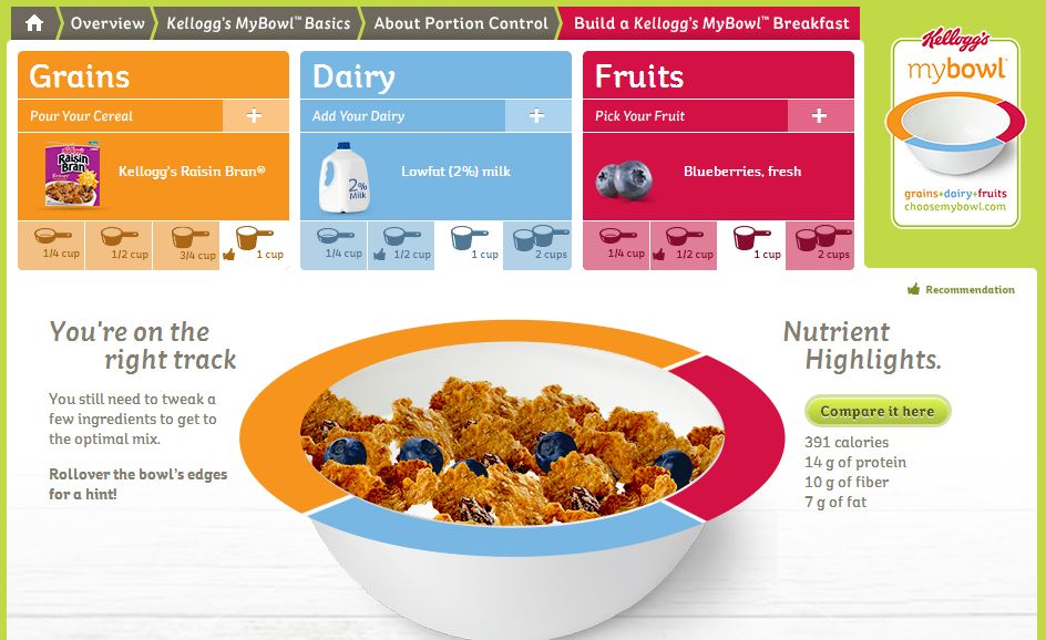 My Bowl, Kelloggs cereal, grains, fruit, dairy