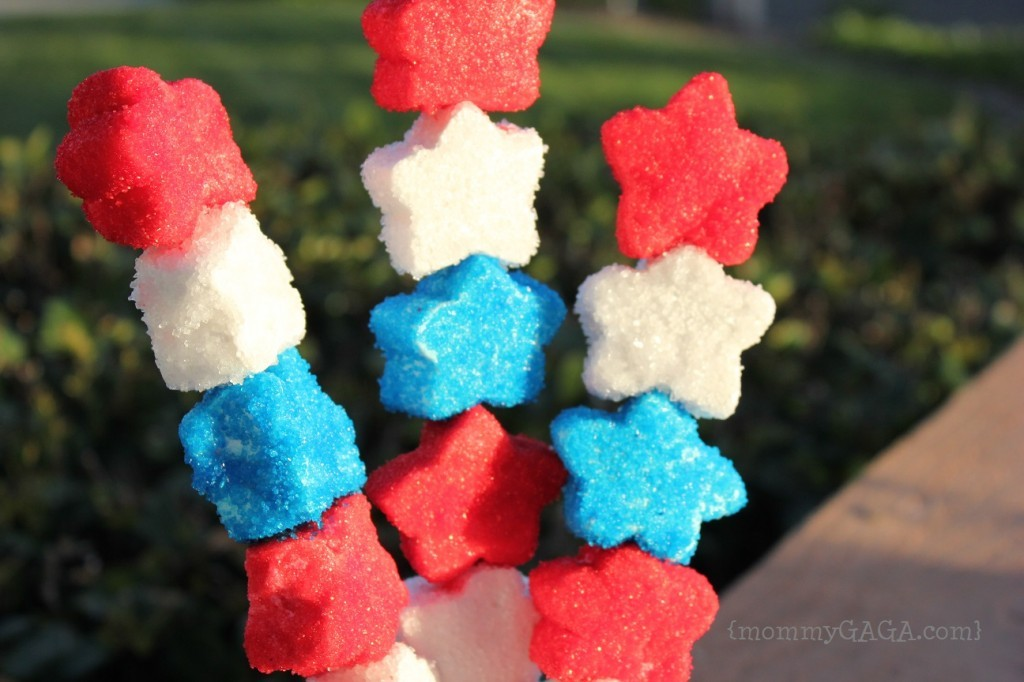 Patriotic Marshmallow Star Shooters, treats on a stick