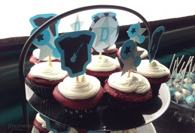 Rock-a-bye baby shower onesie rattle cupcake toppers