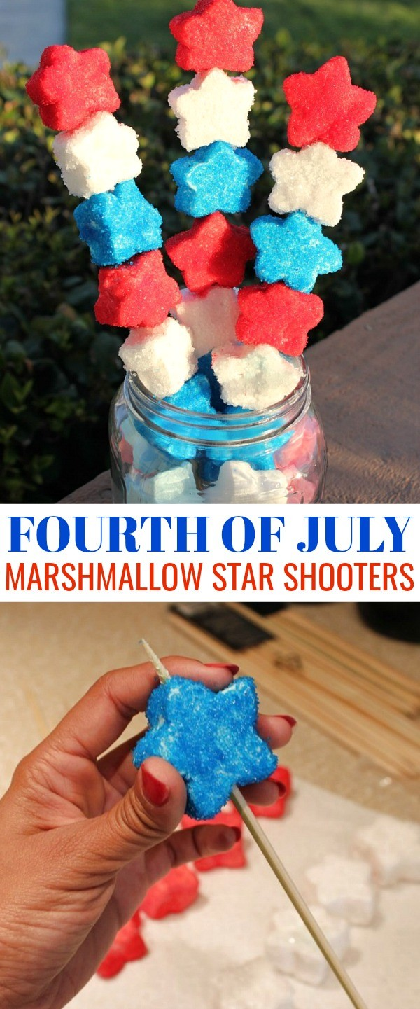 Make these super cute Fourth of July Patriotic Marshmallow Star Shooters, one of our favorite Fourth of July ideas for kids!