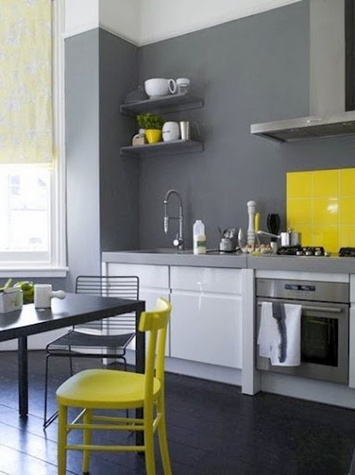 neon yellow contemporary kitchen decor