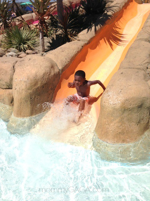 Kid on waterslide at Aquatica