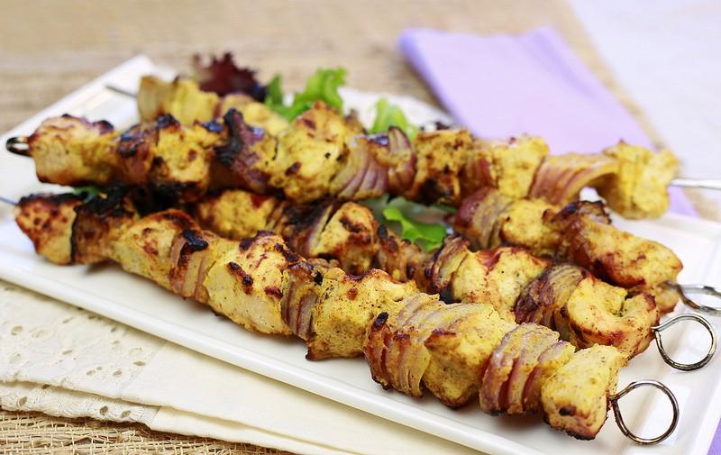 ... by the Mediterranean diet. Spicy mustard chicken kabobs, anyone