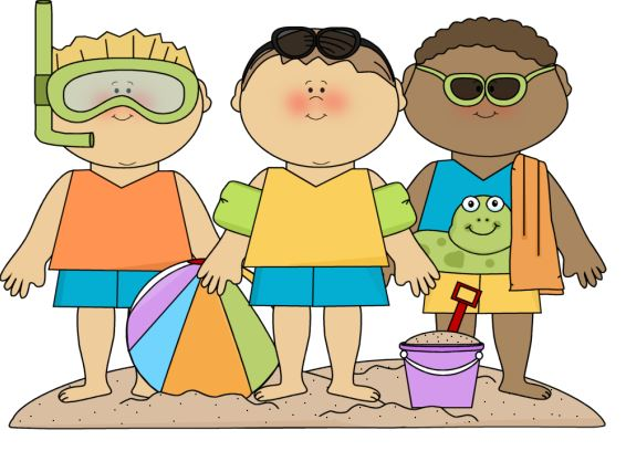summer kids at the beach clip artKids Playing On The Beach Clipart