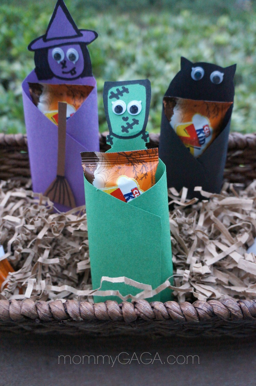 kids halloween paper food crafts, dressed up clif kids frankenstein