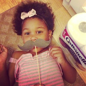 girl with mustache prop