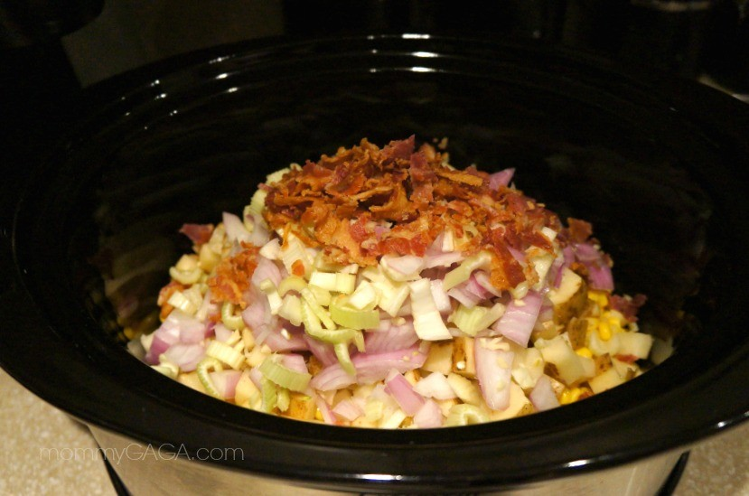 Bacon Corn Chowder soup ingredients in the slow cooker crock pot