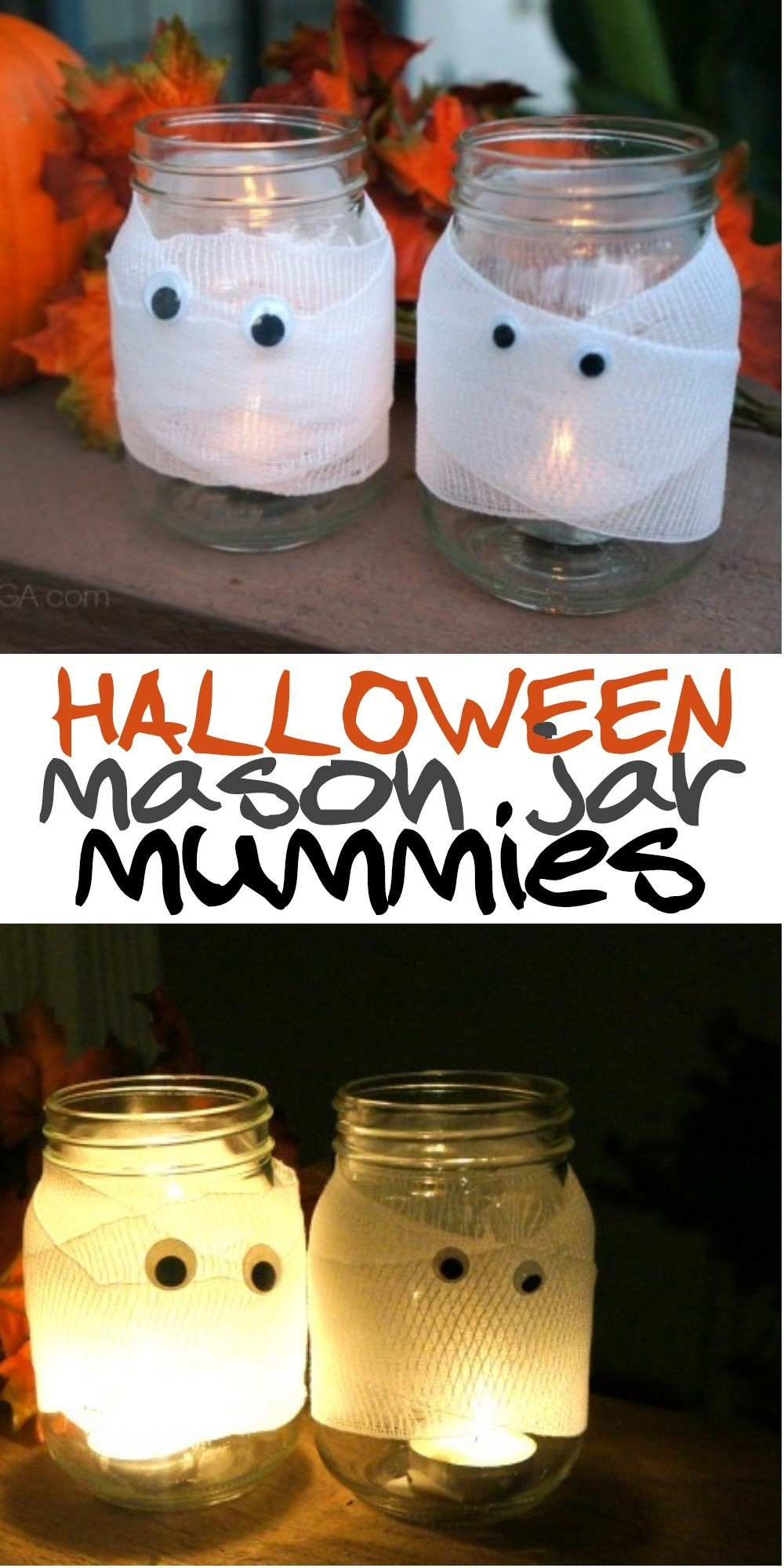 DIY Halloween Decor: Spooky Halloween Mason Jar Mummy Candles