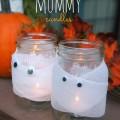 DIY Halloween Decor ad Crafts, Mason Jar Mummy Candles