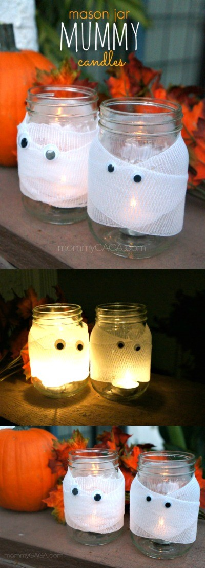 Love these Halloween mason jar mummy candles craft, light these spooky mummy candles in your window while the trick or treaters roam for candy! - such a fun DIY Halloween craft idea