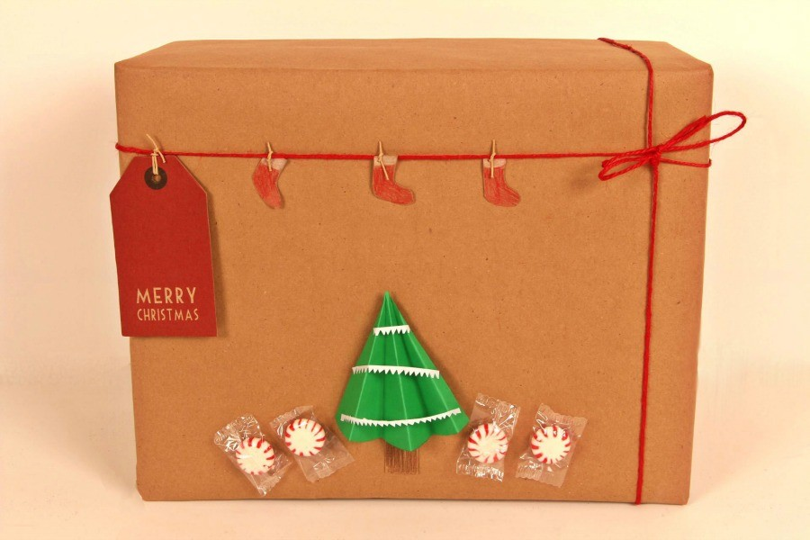 Chritsmas Tree wrapping paper diy - Kraft wrapping paper Christmas