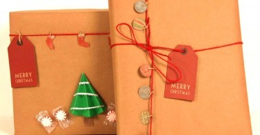 DIY Christmas Holiday Gift Wrap with Kraft Paper