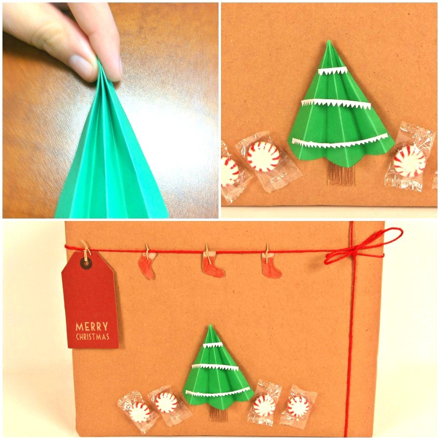 How to wrap gifts creatively - making paper trees for this unique kraft paper holiday gift wrap ideas