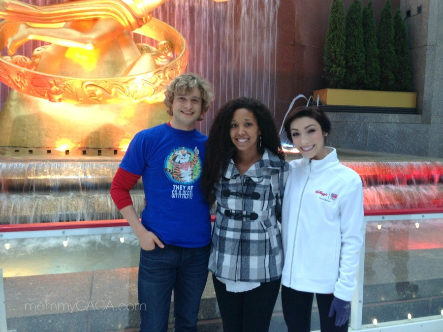 Deanna Underwood with Charlie White, Meryl Davis, Rockefeller Center Ice Rink
