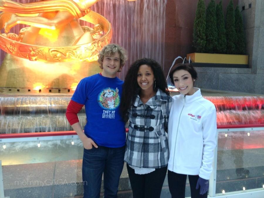 Deanna Underwood with Charlie White, Meryl Davis, Ice skating at Rockefeller Center