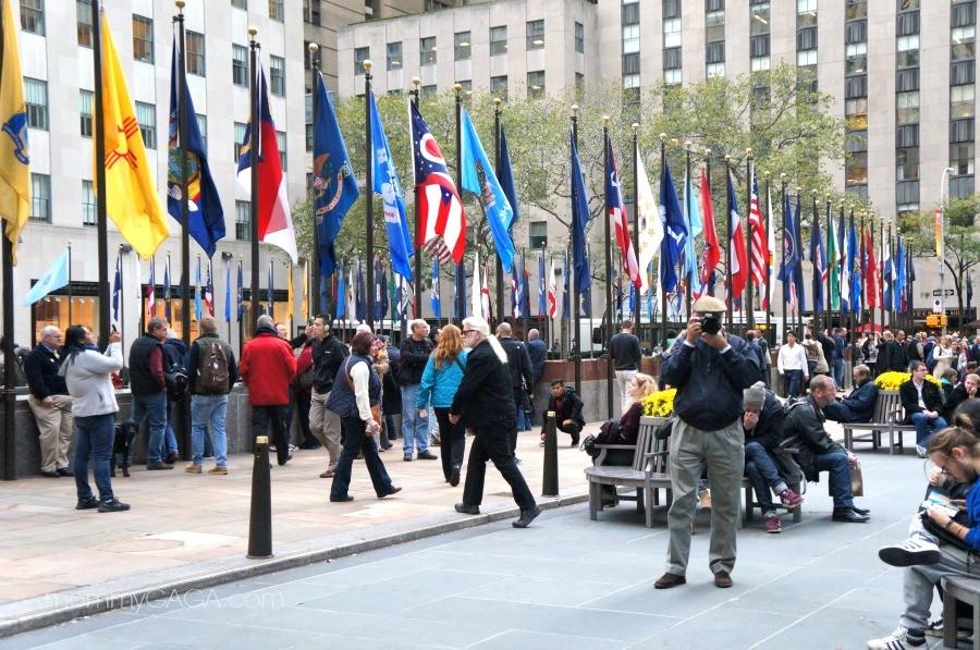 Flags at The Rink, Rockefeller Center, New York Manhattan